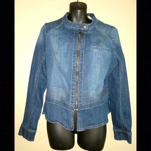 DKNY Stretch Denim Jacket, Moto Style, Size Large
